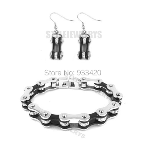 Free shipping! Bling Silver & Black Bicycle Chain Motor Earring and Bracelet Stainless Steel Jewelry Women Biker Set SJB0151S