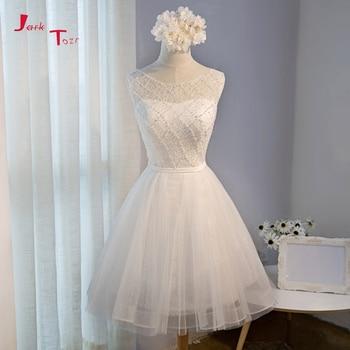 d1417d53ce3b6 Jark Tozr 2019 Yeni Gelmesi Küçük Beyaz Elbiseler Vestidos Cortos Aç Geri  Dantel Tül Kısa Mezuniyet Elbiseleri Mezuniyet Için