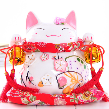 Crafts Arts Home decoration Lucky Cat ornaments large Japanese ceramic piggy piggy bank opened the big youth creative gifts