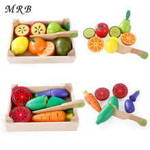 Baby Kids Wooden Toy Kitchen Toys Magnetic Cutting Fruit Vegetable Play Miniature Food Montessori educational toy Gift oyuncak