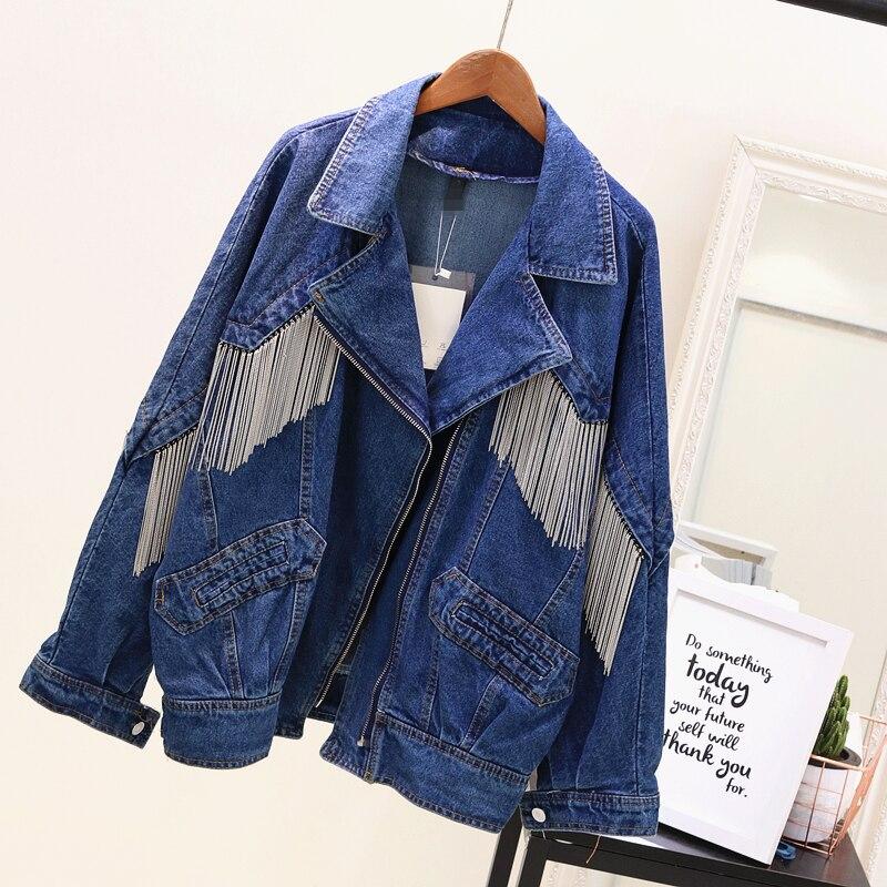 European Style Jeans Jacket Womens Heavy Duty Chain Tassel Motorcycle Denim Jackets 2020 Autumn Female Loose Denim Coat Outwear