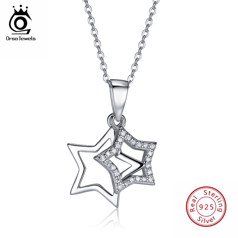 ORSA JEWELS 100% Real 925 Sterling Silver Pendants& Necklaces Shiny AAA Cubic Zircon Star Shape Women Fine Jewelry SN82