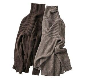 Image 5 - Camisola feminina inverno & primavera 100% cashmere e lã de malha jumpers pulôver feminino venda quente gola alta 3 cores grosso roupas topos
