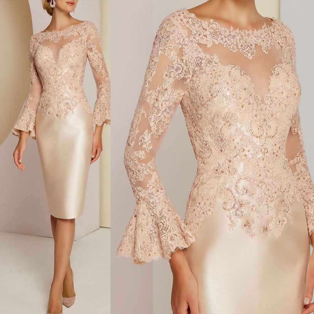 Hot Sale Pink Illusion Mother Of The Bride Dresses 2019 Chiffon V-Neck Brides Mothers Dresses For Wedding Cap Sleeve Appliques