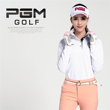PGM Brand Outdoor Sport Polo Dry Fit Long Sleeve Elastic Cotton Golf Girls Women Shirt for Autumn Winter Size S-XL 5 Colors