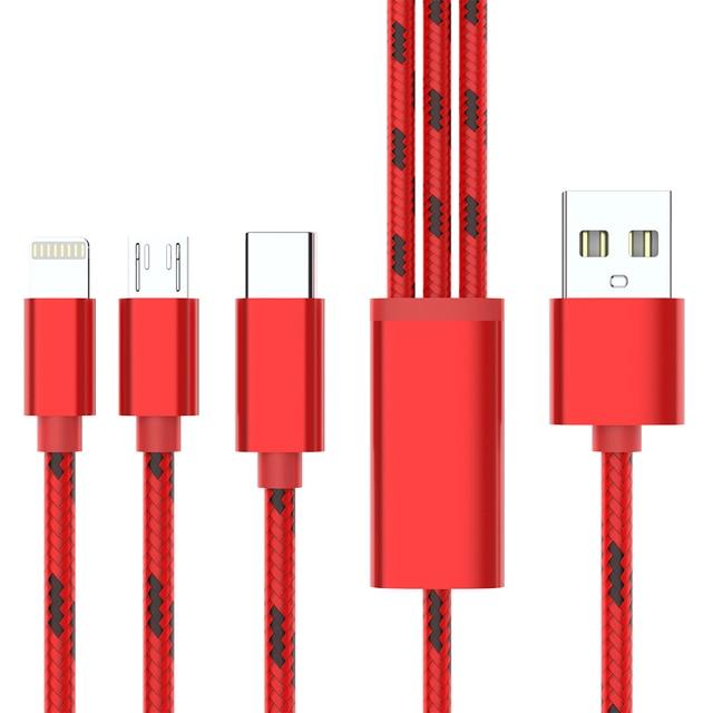 3 en 1 câble USB 2 en 1 Type C 8 broches Micro USB chargeur câble pour iPhone X Samsung S9 S8 Huawei P20 3A USB-C câbles de téléphone Android