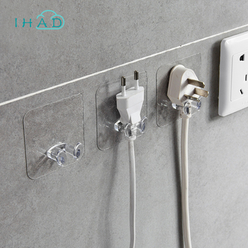 Plastic plug hook wire organizer transparent power wire wall rack nail free kitchen hook wire plug bracket hook wire