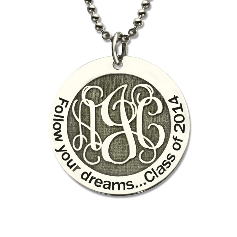 Follow Your Heart Personalized Monogram Disc Necklace Sterling Silver Initial Disc Pendant Love Dream My Dream Faith Jewelry ailin gold color monogram disc necklace personalized engraved initial disc pendant follow your heart name necklace faith jewelry