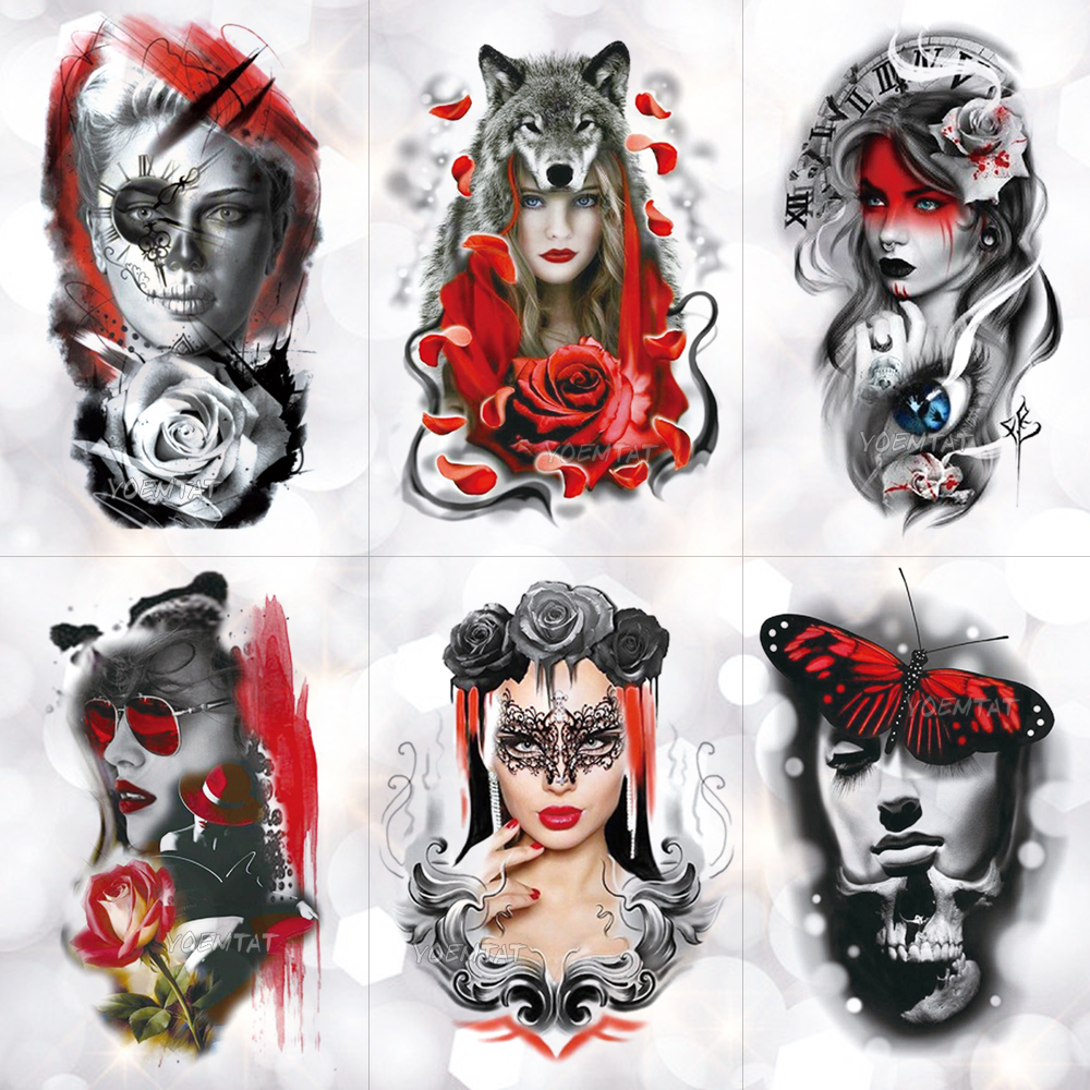 Wolf Head Cool Eyes Girl Temporary Tattoo Sticker Red Butterfly Lace Romantic Waterproof Tattoo Art Fake Tatoo For Women