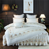 4Pcs Cotton Quilted lace embroidery luxury bedding sets queen king size duvet cover set bed skirt set pillowcase bedclothes