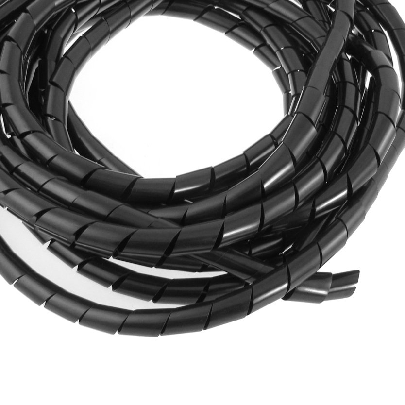 MYLB-12mm Outside Dia 22 Ft Flexible Spiral Wire Wrap Desktop PC Manage Cable