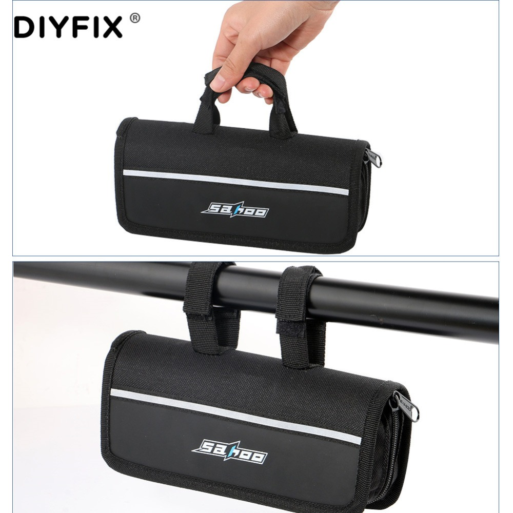 DIYFIX Cycling Bicycle Repair Tools Set Bike Flat Tire Repair Kit Mountain Cycle 16 in 1 Wrench Set Pump with Portable Bag