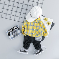 New Brand Boy's England Plaid Shirt+Black Pants 2pcs Infant Clothing Long Sleeve Newborn Cotton Boy Set 0 3 Age Baby Boy Clothes