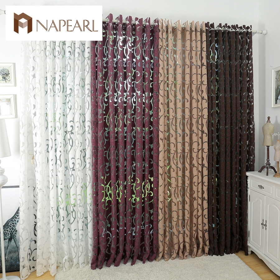 Luxury fashion style semi-blackout curtains kitchen curtains window living room living room curtain panel jacquard fabrics door(China)