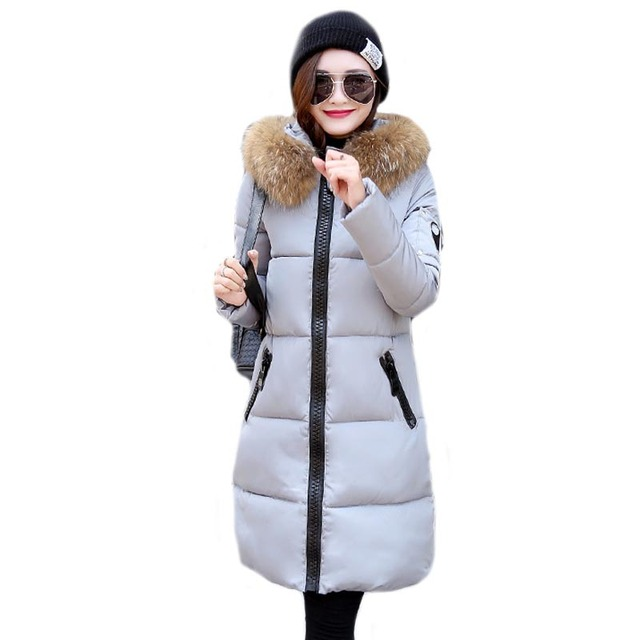 new 2016 women winter coat wadded jacket medium-long plus size Parka fur collar thickening hood abrigos female snow wear