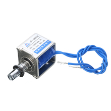 цены New 1pc JF-0826B Open Frame Solenoid DC 12V/2A Reset Stroke 10mm Cable 200mm Push Pull Type Electromagnet Coil Electronic Parts