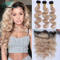 7A Cheap Brazilian Virgin Hair Body Wave 3 Bundles With Ear to Ear 13x4 Lace Frontal Closure Ombre #1B/27 Honey Blonde Color