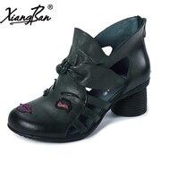 Xiangban 2018 Spring Women Sandals Baotou High Heel Women Summer Boots Genuine Leather K0228K7