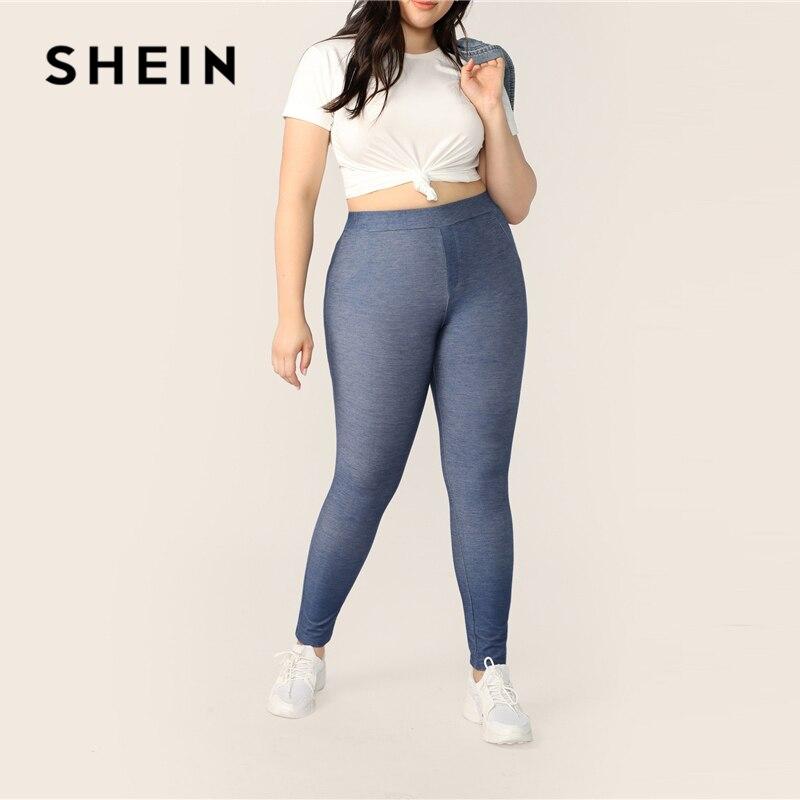 SHEIN Plus Size Blue High Waist Long Soild   Leggings   2019 Women Spring Summer Casual Fashion Skinny Stretchy Sporty   Leggings