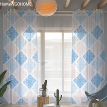 Nordic Geometric Decoration Tulle Curtains for Living Room Blue Window Screen Sheer For Bedroom Modern Voile