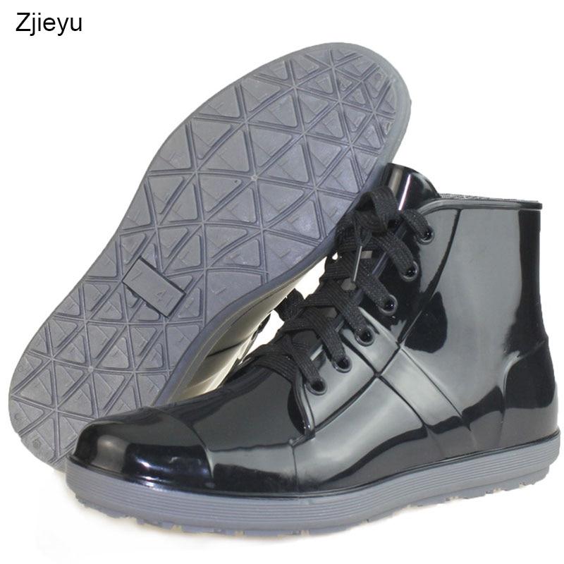 Black pvc rain boots men waterproof boots fashion galoshes low water shoes bot fishing boots цена