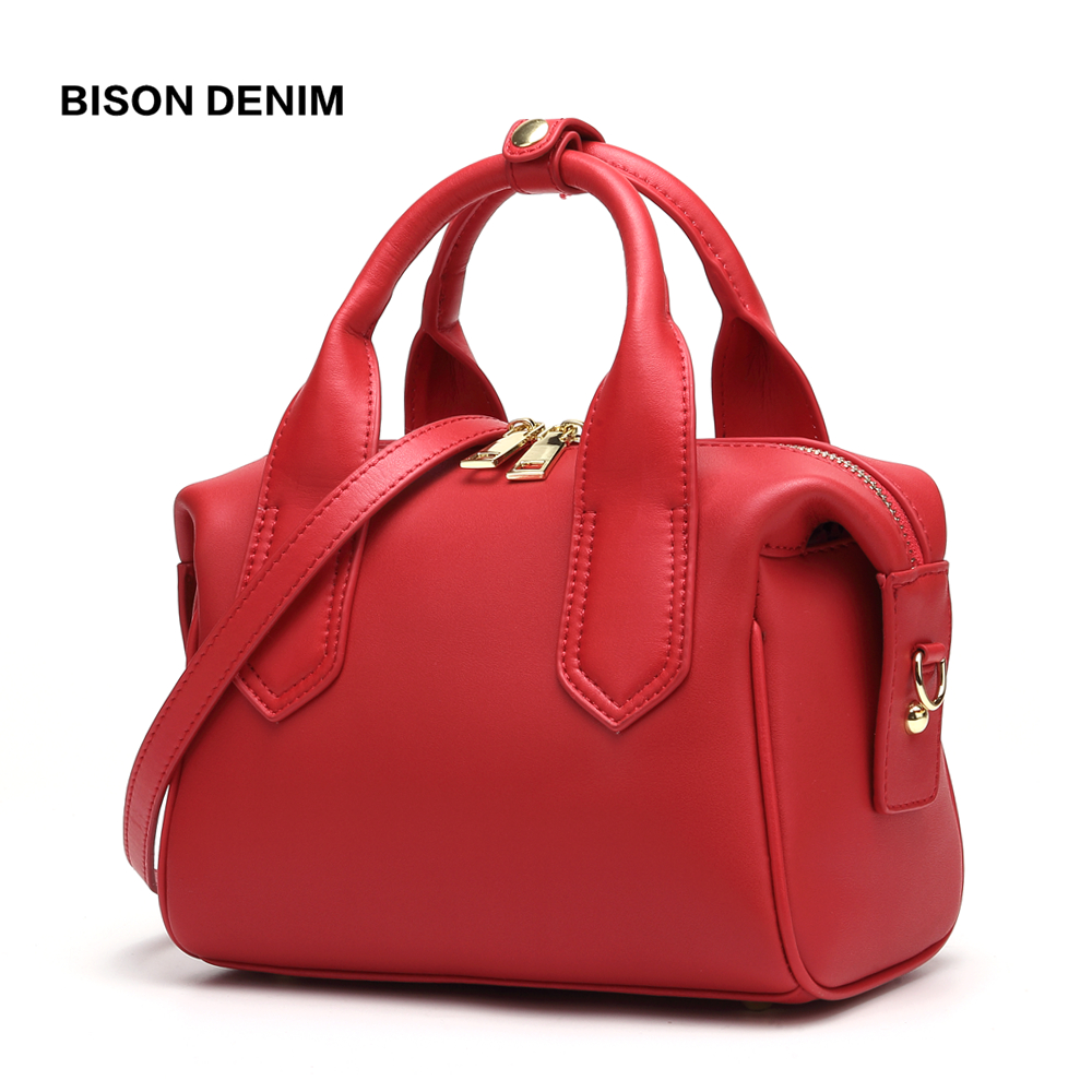 BISON DENIM Vaca Saco De Couro Das Mulheres Novas bolsas de luxo mulheres sacos designer de Travesseiro em forma de Saco de Ombro da forma sacos crossbody N1599