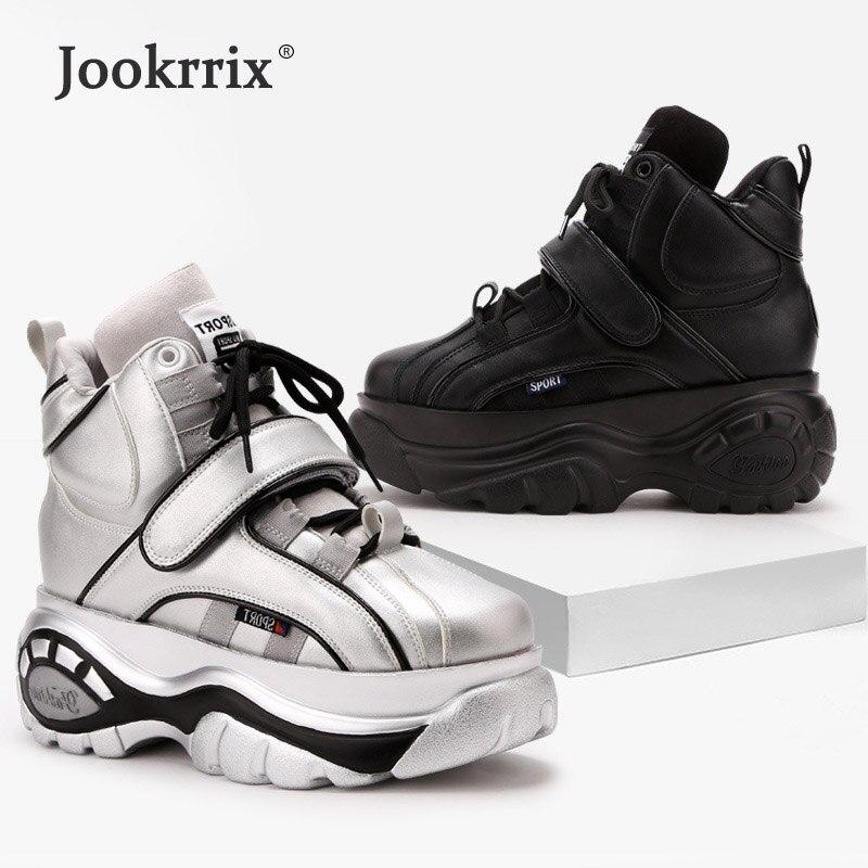 Jookrrix Pre sales White Shoes Women Brand Platform Sneakers Lady Increase chaussure Hook Loop Female footware