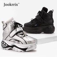 Jookrrix Pre sales White Shoes Women Brand Platform Sneakers Lady Increase chaussure Hook&Loop Female footware Silver Quality