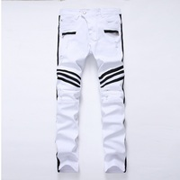 GMANCL Men Jeans Scratched Biker Jeans Ripped Motorcycle Denim Straight Skinny Hip Hop Distressed Stripe White