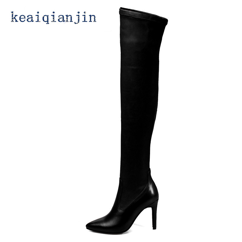 ФОТО Full Grain Leather Over-the-Knee Boots 2017 Winter Black Plush Large Size 33CM-43CM Knee Boots Fashion Spike Heels Long Boots