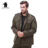 Бренд Для мужчин холст M65 флис траншеи высокое качество промывают хлопок армии пальто плюс Размеры военные хлопковое пальто для Для мужчин M...