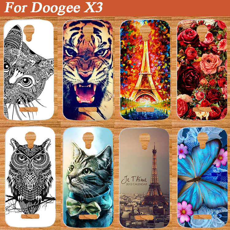 Kartun Pola LEMBUT TPU Kembali Kasus Untuk Doogee Telepon x3 Mode 3D DIY Pencetakan PC Keras Cell Phone Cover UNTUK doogee x3