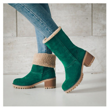 Women high heels snow boots Calf Shearling Boots Chunky Heel Short Cotton shoe Female Hot Sale faux fue winter shoes