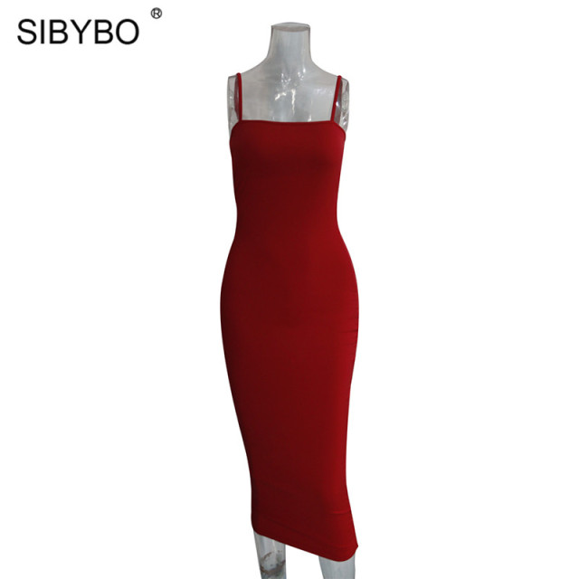 Sibybo Spaghetti Strap Backless Sexy Long Dress Party Off Shoulder Strapless Autumn Maxi Dress Black Bodycon Party Dress Women 5