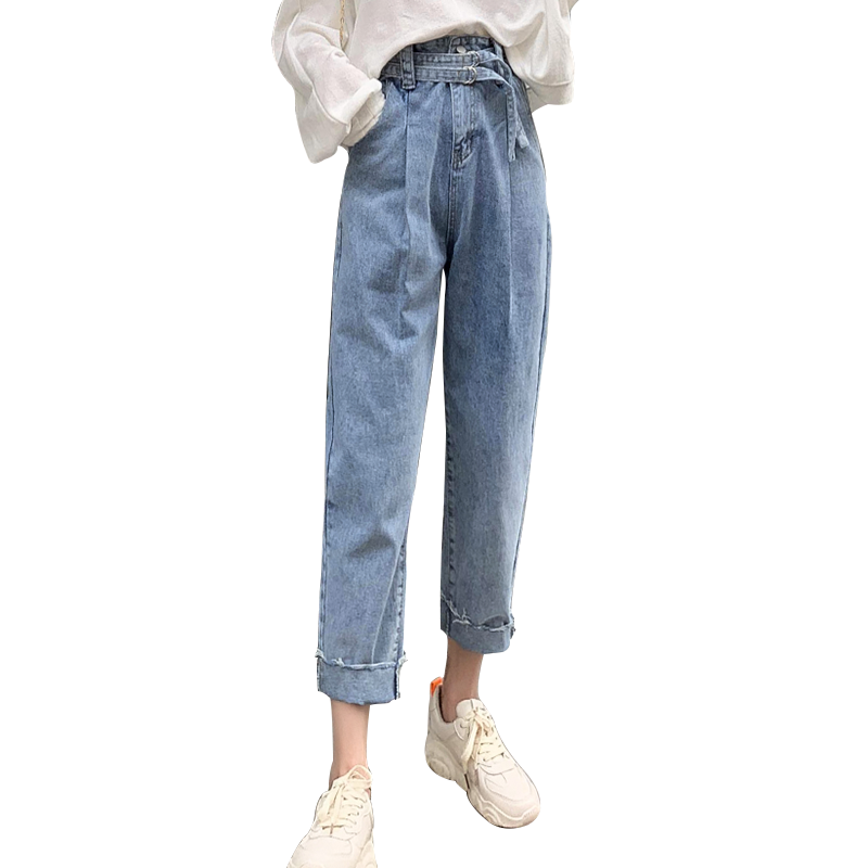 Jeans female 2019 new chic high waist vintage jeans loose fashion casual slim pants ankle length denim pants Harlan jeans
