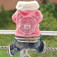 Купить с кэшбэком 2018 New Dog Clothes Hoodies Overalls for Dogs Winter Pet Clothes Cotton Sportswear Thick Clothes For Dogs Small Dog Blue Pink