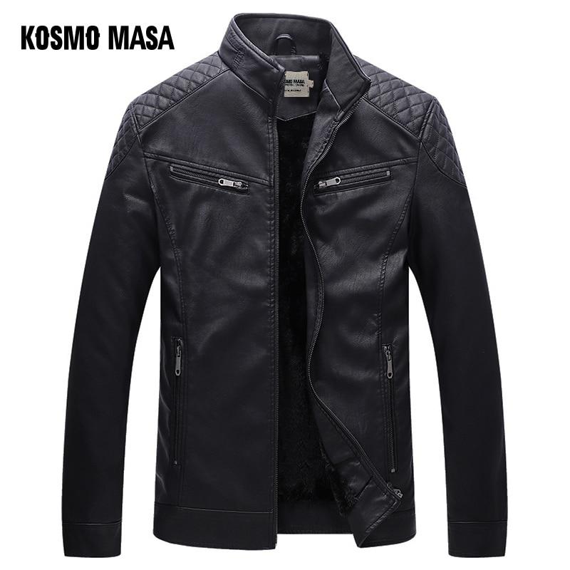 KOSMO MASA Black Motorcycle Casual Faux Leather Jacket for Men Autumn Winter Pilot Pu Male Leather Jacket Big Sizes 5XL MF019