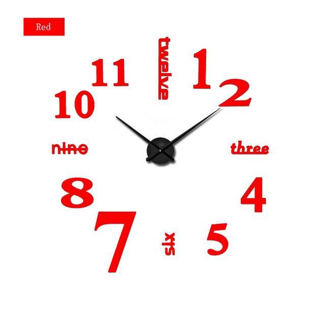 2017 new arrival Quartz clocks fashion watches 3d real big wall clock rushed mirror sticker diy living room decor free shipping