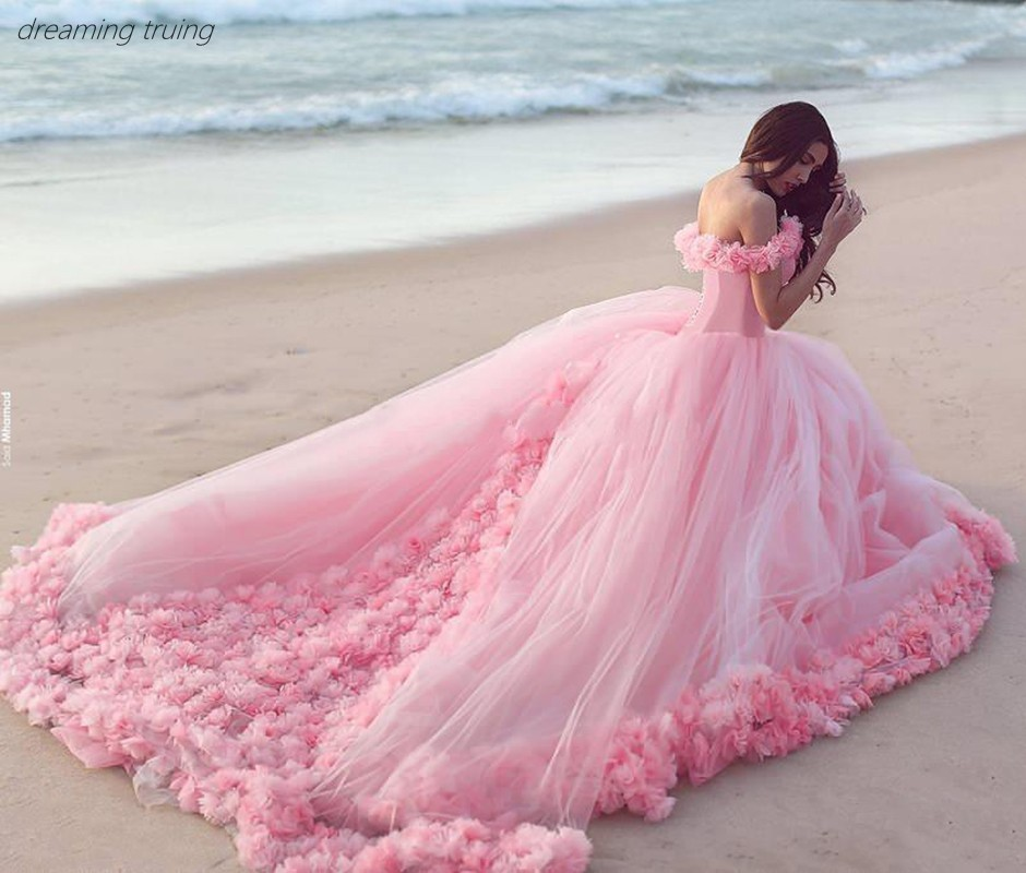 2019 Pink Quinceanera Dresses Princess Cinderella  With 3D Flower Off The Shoulder Elegant Tulle Party Gown Sweet 16 Dress