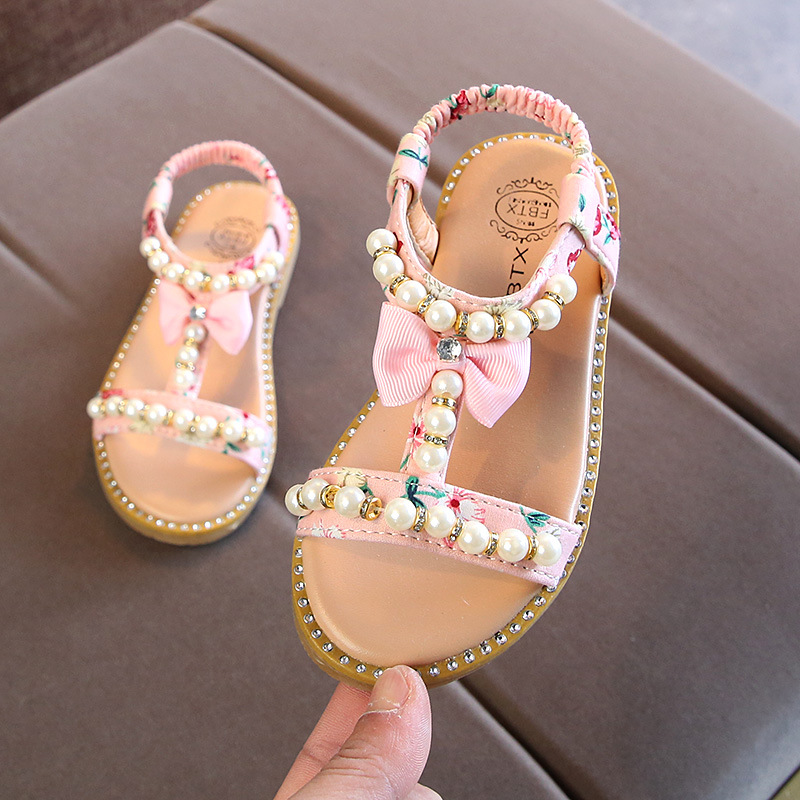 Baby Little Girls Summer Pearl Sandals 2019 New Beading Bow Princess Dress Shoes Flat Beach Toddler Sandals 1 2 3 4 5 6 Year Old