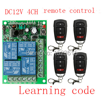 NEW DC12V 10A 4CH Radio Controller RF Wireless Relay Remote Control Switch 315 MHZ 433 MHZ teleswitch 4 Transmitter +1 Receiver new dc12v 10a mini 1ch rf wireless remote control 4 receiver 4 transmitter 315 433 mhz white black remote control with abcd key