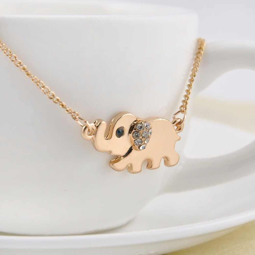 Śliczne słoń rodzina spacer projekt moda kobiety uroczy kryształ naszyjnik łańcuch naszyjnik choker