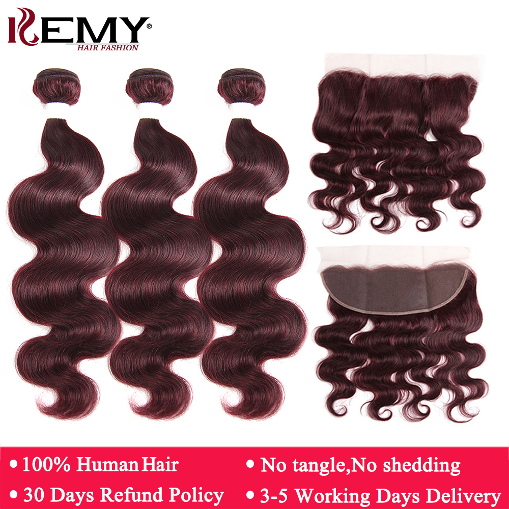 99J/Burgundy Red Human Hair Bundles With Frontal 13*4 KEMY HAIR 3PCS Body Wave Hair Bundles Brazilian Remy Hair Weaves Bundles