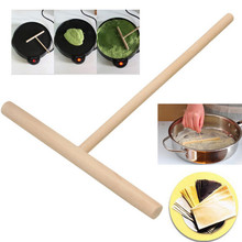 Т-образный портативный домашний кухонный набор инструментов для самостоятельного использования блинница блинное тесто деревянная распределительная палочка горячая Распродажа круглая ручка L* 5