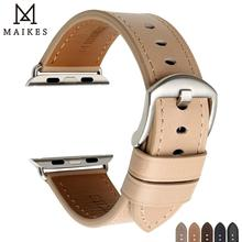 цена на MAIKES Quality Leather Watch Band For Apple Watch 44mm 40mm 42mm 38mm Series 4 3 2 1 iWatch All Models Watch Bracelet Strap