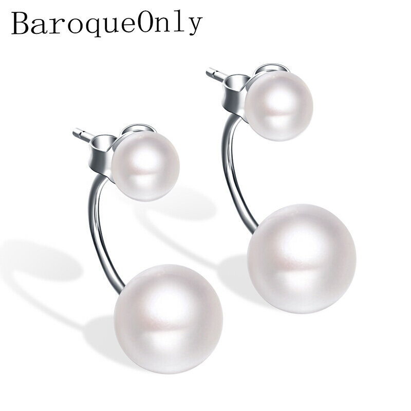 Baroqueonly Jewelry Double-Pearls-Earring 925-Sterling-Silver Natural-Freshwater-Pearl