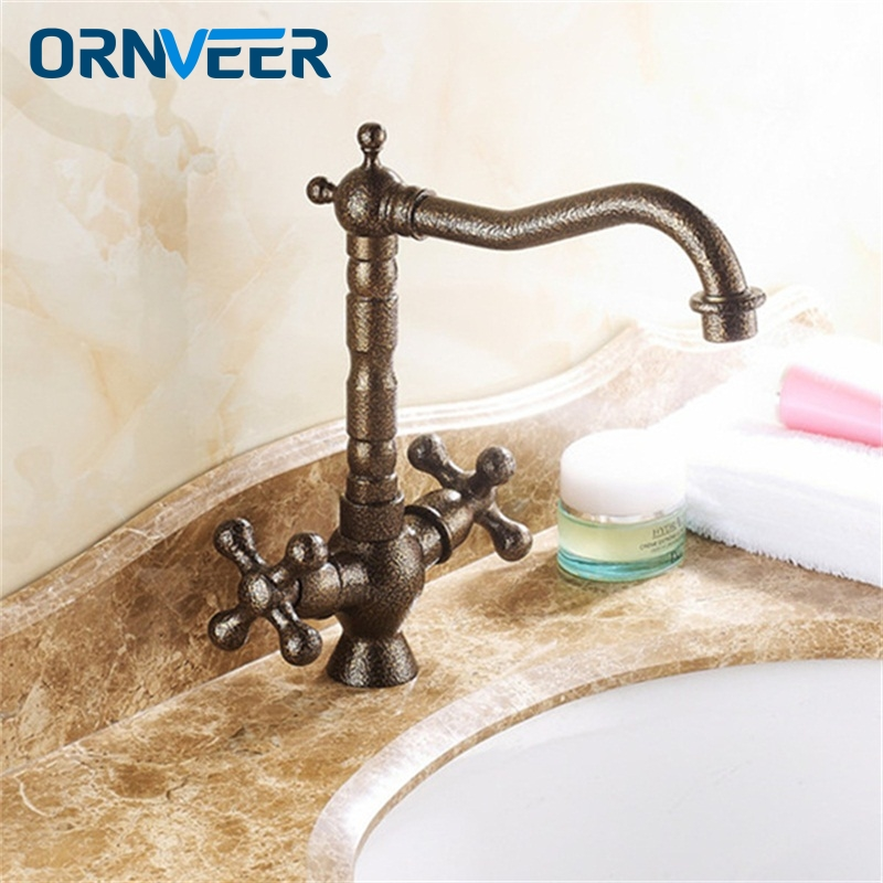 Luxury European Antique Bronze Double Wheel Handle Bathroom Sink Mixer Tap Long Mouth Swivel Roman Bronze Basin Faucet RB-011 аксессуар alparaisa с32 011 bronze