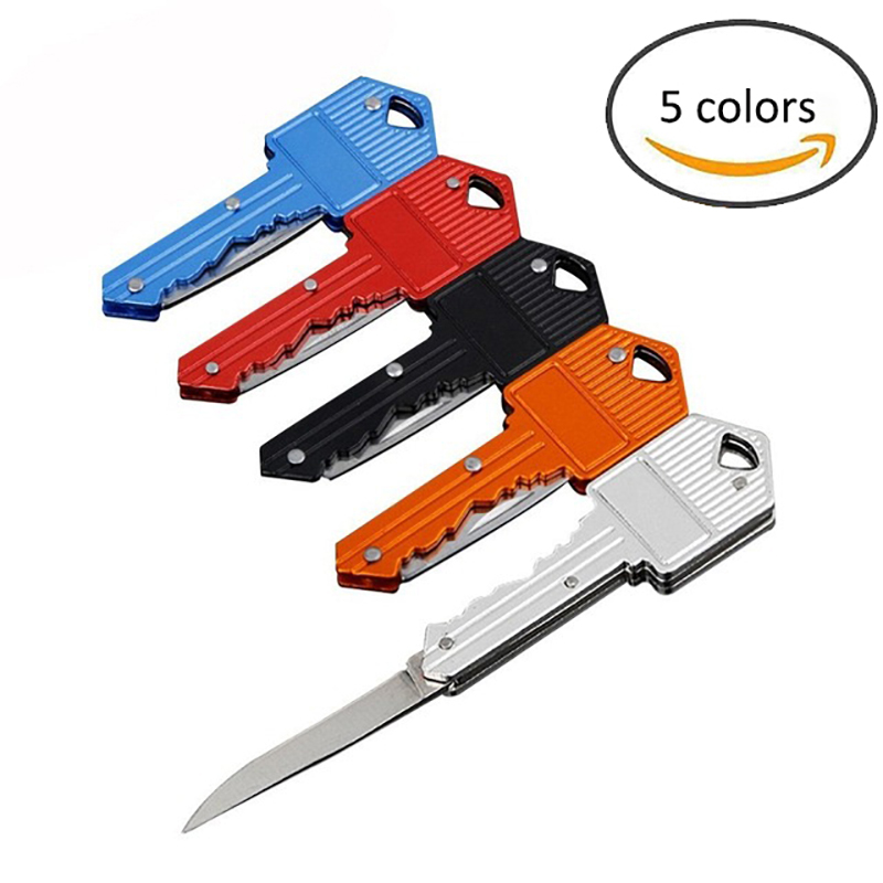 Portable Camping Outdoor Survival Pocket Folding Key Shape Ring Knife Tool Peeler Mini Camping Key Ring Knife Tool Multicolor