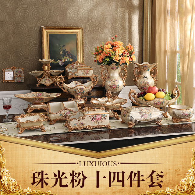 Luxury European Resin Vase Fruit Dish Ashtray Box Set Home