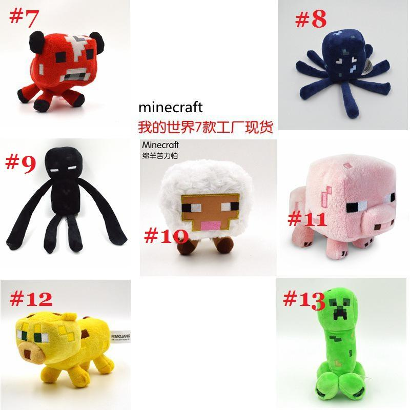 14 kids 7pcs lots Minecraft Plush Animals Toys Creeper Enderman Cat Pig Sheep Brinquedos Plush Doll